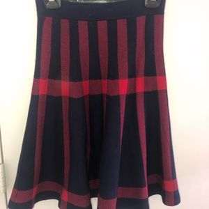Red and blue midi skirt